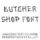 Fuente de Shop Decorative Meat del carnicero, alfabeto Ejemplo dibujado mano realista del vector del bosquejo del estilo de la hi Foto de archivo libre de regalías