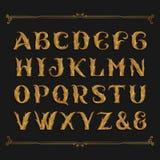 Fuente de vector adornada decorativa del alfabeto Letras de oro de la hoja libre illustration