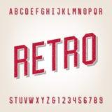 Fuente de vector apenada estilo retro del alfabeto stock de ilustración