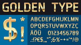 Fuente de vector brillante de oro con los caracteres especiales Imagen de archivo libre de regalías