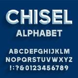 Fuente de vector cincelada del alfabeto Stock de ilustración