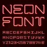Fuente de vector de neón del alfabeto de la luz roja Foto de archivo libre de regalías