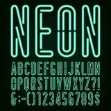 Fuente de vector de neón del alfabeto de la luz verde ilustración del vector
