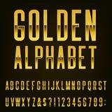 Fuente de vector de oro del alfabeto Imagen de archivo