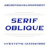 Fuente de vector decorativa del alfabeto del trazo de pie Letras y números oblicuos ilustración del vector