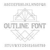 Fuente de vector decorativa del alfabeto en estilo de moda del esquema Tipo letras y números del trazo de pie stock de ilustración