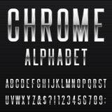 Fuente de vector del alfabeto de Chrome Imagen de archivo libre de regalías