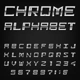 Fuente de vector del alfabeto de Chrome Fotos de archivo