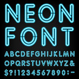 Fuente de vector del alfabeto de la luz de neón Imágenes de archivo libres de regalías