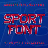 Fuente de vector del alfabeto del deporte Tipografía oblicua para las etiquetas, los títulos, los carteles o la ropa de deportes libre illustration