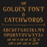 Fuente de vector del alfabeto del vintage con lemas Letras y lemas adornados de oro ilustración del vector