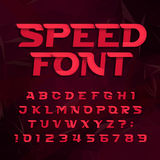 Fuente de vector futurista del alfabeto Apresure el tipo letras y números del efecto en un fondo abstracto Imagen de archivo