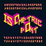 Fuente de vector isométrica del alfabeto letras 3D y números brillantes en un fondo oscuro Fotos de archivo libres de regalías