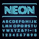 Fuente de vector ligera azul de neón del alfabeto Ilustración del Vector