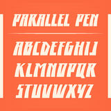 Fuente de vector paralela de la pluma Letras fuertes del alfabeto Cartas latinas Imagenes de archivo