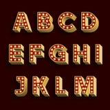 Fuente de vector retra del alfabeto de la bombilla Parte 1 de 3 Letras mañana Imagen de archivo