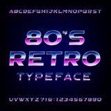 fuente de vector retra del alfabeto de los años 80 Letras brillantes y números del efecto metálico Imagen de archivo libre de regalías