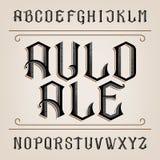 Fuente de vector vieja del alfabeto Letras dibujadas mano apenadas Fotografía de archivo