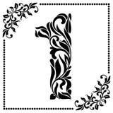 Fuente decorativa con remolinos y elementos florales Adornado adorne Foto de archivo
