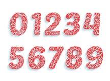 Fuente decorativa de los números Ornamento floral en todas las formas de los números Imagen de archivo