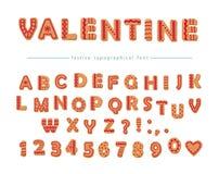 Fuente decorativa dibujada mano de la galleta Letras y números dulces de ABC de la historieta Perfeccione para las tarjetas del d Fotografía de archivo libre de regalías