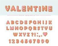 Fuente decorativa dibujada mano de la galleta Letras y números dulces de ABC de la historieta Perfeccione para las tarjetas del d Fotografía de archivo