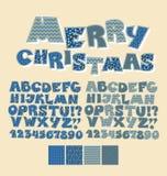 Fuente del ABC del estilo del remiendo de la Navidad Stock de ilustración