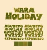 Fuente del ABC del estilo del remiendo de la Navidad Ilustración del Vector
