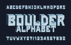 Fuente del alfabeto de Boulder 3D agriet? letras y n?meros libre illustration