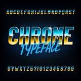 Fuente del alfabeto de Chrome Letras estrechas y números del efecto metálico en fondo oscuro libre illustration