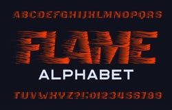 Fuente del alfabeto de la llama Tipo letras y números del efecto de la llama libre illustration
