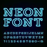 Fuente del alfabeto de la luz de neón stock de ilustración
