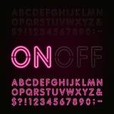 Fuente del alfabeto de la luz de neón Dos diversos estilos Enciende con./desc. stock de ilustración