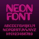 Fuente del alfabeto de la luz de neón Letras y números de neón del color ilustración del vector