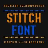 Fuente del alfabeto de la puntada Tipografía del vintage del bordado en fondo oscuro Mecanografíe las letras y los números ilustración del vector