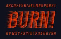 Fuente del alfabeto de la quemadura Tipo letras y números del efecto de la llama en fondo oscuro ilustración del vector