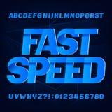 Fuente del alfabeto de la velocidad r?pida Tipo letras y números del efecto de la velocidad en fondo abstracto stock de ilustración
