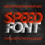 Fuente del alfabeto de la velocidad Tipo moderno rápido letras y números del efecto de viento Fondo poligonal abstracto libre illustration