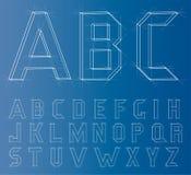 Fuente del alfabeto de Wireframe Vector Imagen de archivo
