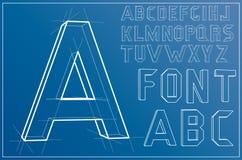 Fuente del alfabeto de Wireframe Vector Foto de archivo