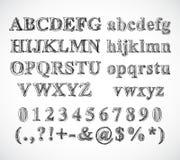 Fuente del alfabeto del bosquejo Foto de archivo libre de regalías