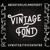 Fuente del alfabeto del vintage con los suplentes Letras, números y símbolos Imagen de archivo