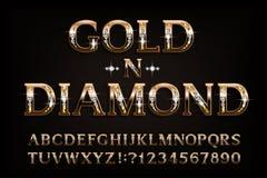 Fuente del alfabeto del diamante del oro n Letras y números de oro del trazo de pie con la piedra preciosa del diamante stock de ilustración