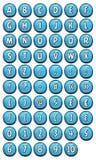 Fuente del alfabeto fijada en los botones brillantes para el juego de Ui stock de ilustración