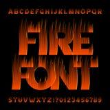 Fuente del alfabeto del fuego Tipo letras y números del efecto de la llama en fondo negro stock de ilustración