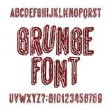 Fuente del alfabeto del Grunge Dé las letras, los números y los símbolos sucios exhaustos Imágenes de archivo libres de regalías
