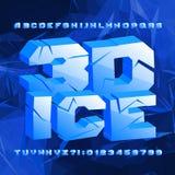 fuente del alfabeto del hielo 3D Letras y números agrietados en fondo poligonal stock de ilustración