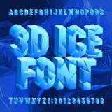 fuente del alfabeto del hielo 3D Letras y números congelados quebrados en fondo poligonal azul libre illustration