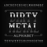 Fuente del alfabeto del metal del vintage Letras y números rasguñados ilustración del vector