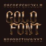 Fuente del alfabeto del oro Letras de oro adornadas del vintage ilustración del vector